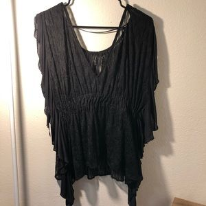 Black sheer lacy shirt free people